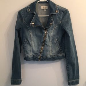 MNG By Mango Asymmetric Zip Cropped Jean Jacket XS